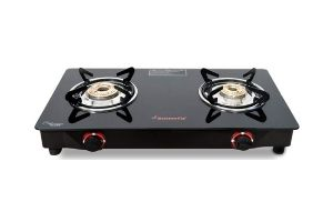 Butterfly Smart Glass 2 Burner Gas Stove, Black