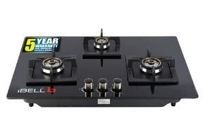 iBELL 490GH HOB 3 Burner Glass Top Gas Stove with Auto Ignition, Toughened Glass (Black)