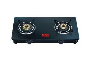 Prestige Magic Glass Top 2 Burner Gas Stove, Manual Ignition, Black