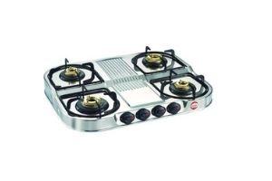 Prestige Stainless steel 4 Burner Gas Stove, Manual Ignition