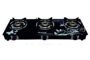 SURYAJWALA Auto Ignition Royal Designer GT03 Cast Iron 3 Burner Gas